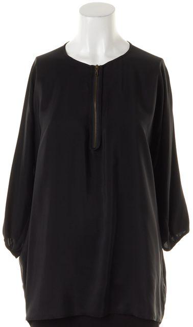 VINCE Black Solid Long Dolman Sleeve Front Zipper Loose Fit Silk Blouse