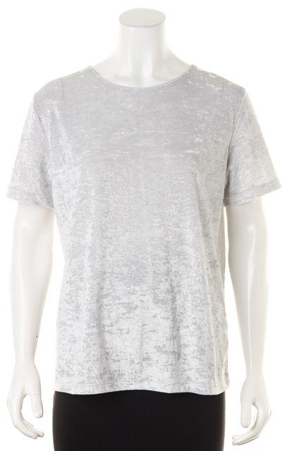 VINCE Light Gray Crushed Velvet Velour Short Sleeve Top