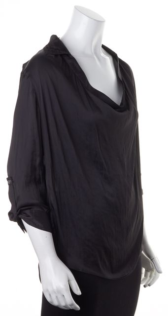 VINCE Black Satin 3/4 Roll-Tab Sleeves Draped Cowl Neck Blouse Top