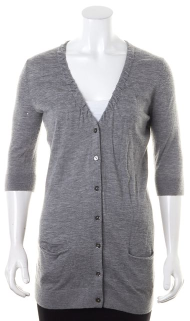 VINCE Gray Cashmere Thin Knit Half Sleeves V-Neck Cardigan Sweater