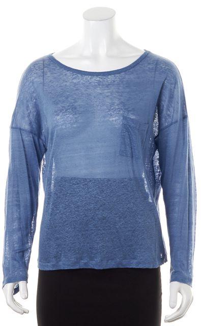 VINCE Powder Blue Sheer Front Pocket Long Sleeve Top