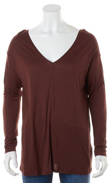 VINCE Dark Brick Red Jersey Long Sleeve V-Neck Tee T-Shirt Top