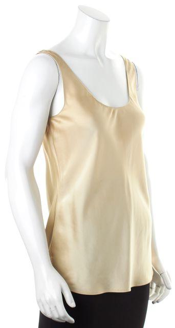 VINCE Gold Satin Side Slits Sleeveless Scoop Neck Tank Top