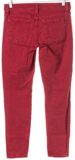 VINCE Destroyed Red Crop Skinny Ankle Jeans