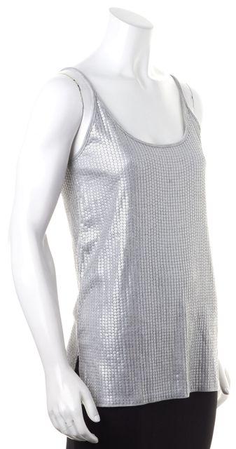 VINCE Gray Shimmery Sequin Embellished Scoop Neck Tank Top