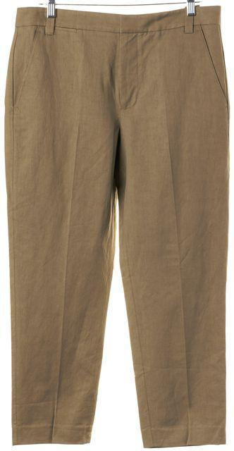 VINCE Beige Linen Slim Creased Dress Pants