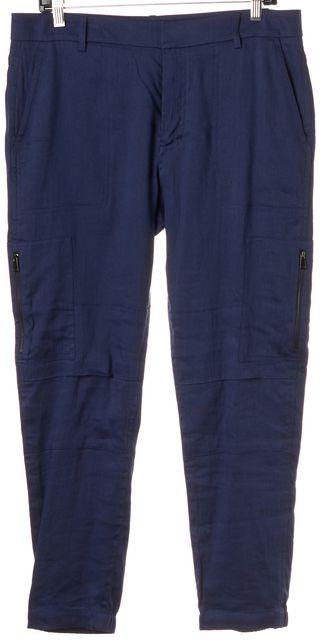 VINCE Navy Blue Linen Zip Cargo Jogger Pants