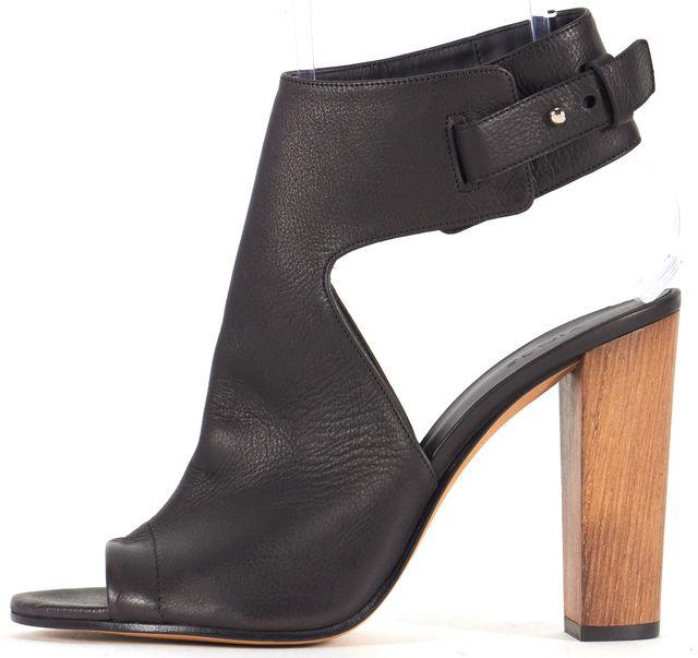VINCE Black Leather Addie Wooden Sandal Heels