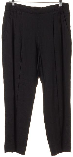 VINCE Black Linen Cropped Trouser Dress Pants