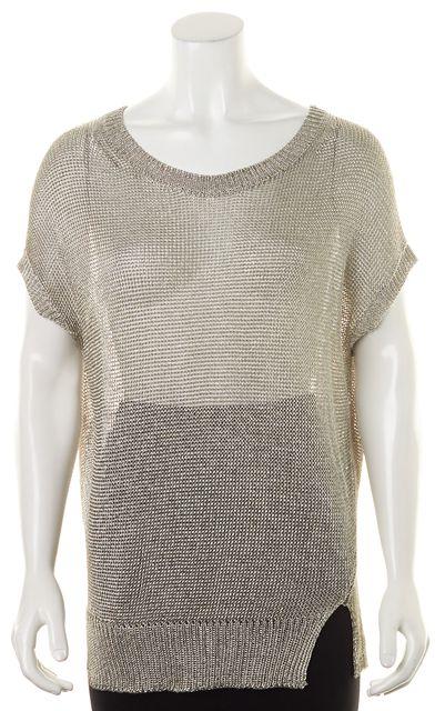 VINCE Silver Metallic Boat Neck Open Knit Sweater