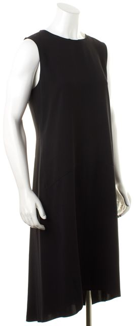 VINCE Black Sleeveless Pleated Back Midi Shift Dress