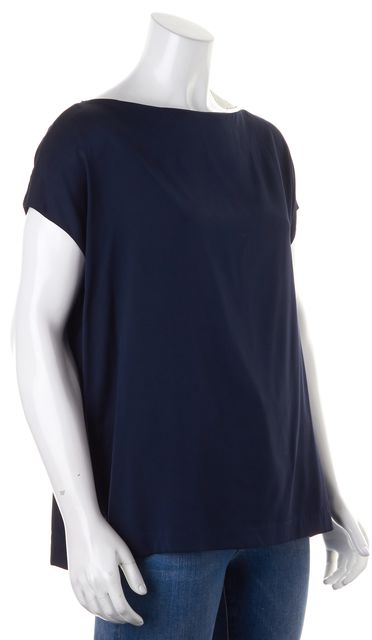 VINCE Navy Blue Stretch Silk Cap Sleeve Relaxed Fit Blouse