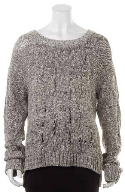 VINCE Gray White Marled Open Knit Crewneck Sweater