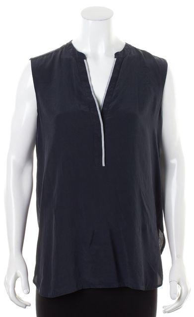 VINCE Navy Blue Contrast Trim Silk Sleeveless Blouse Top