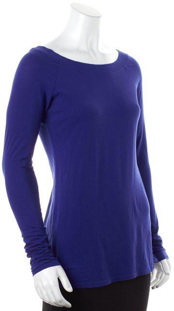 VINCE Blue Stretch Cotton Jersey Long Sleeve T-Shirt Tee Top