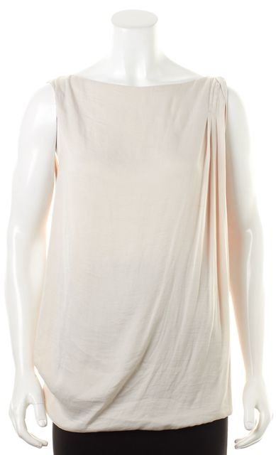 VINCE Ivory Sleeveless Draped Pleated Blouse Top