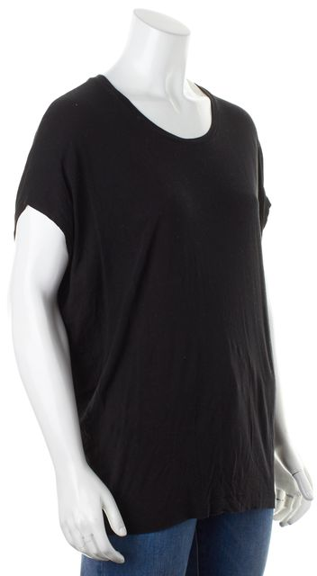 VINCE Black Jersey Cap Sleeve Crewneck Relaxed Fit Basic Tee T-Shirt