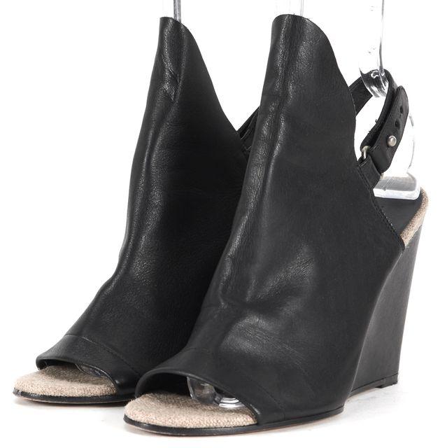 VINCE Black Leather Kyra Bootie Slingback Sandal Wedges