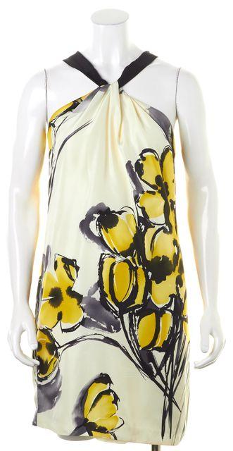 VINCE Ivory Yellow Black Floral Silk Halter Shift Dress
