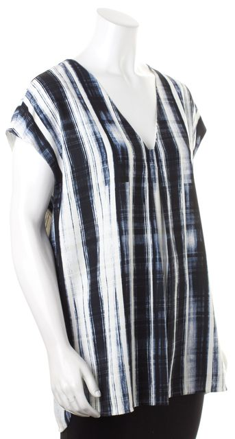 VINCE White Blue Beige Abstract Striped V-Neck Short Sleeve Tunic Top