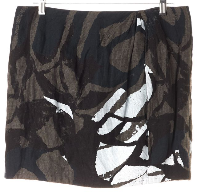 VINCE Brown Navy Blue White Abstract Cotton Mini Skirt