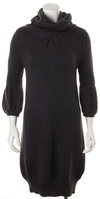 VINCE Gray Wool Knit 3/4 Puff Sleeves Turtleneck Sweater Dress