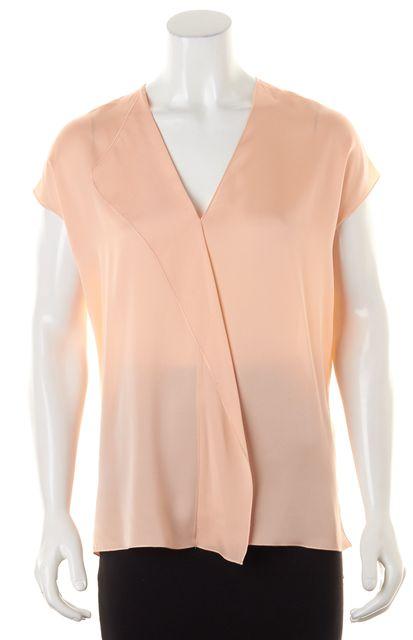 VINCE Peach Pink Cap Sleeve V-Neck Semi Sheer Blouse