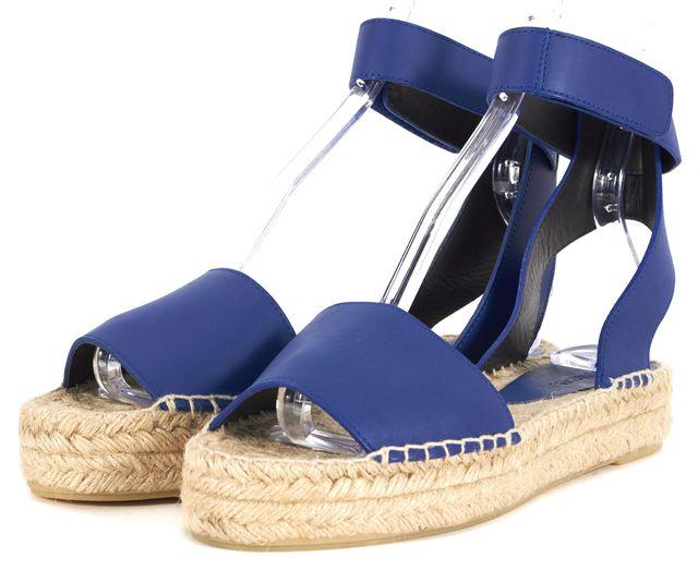 VINCE Royal Blue Leather Espadrille Flatform Sandals