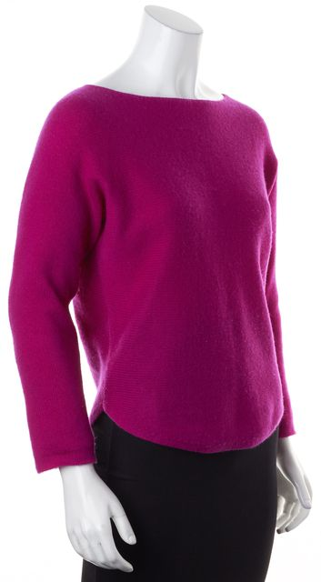 VINCE Pink Wool Cashmere Knit Long Sleeve Boat Neck Sweater