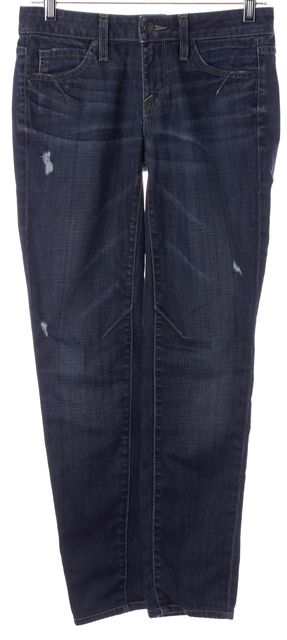 VINCE Aiko Blue Stretch Cotton Distressed Skinny Jeans