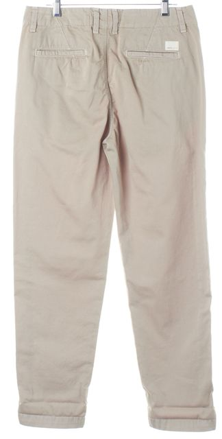 VINCE Pumice Beige Cotton Cropped Chino Pants