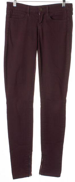 VINCE Dark Raisin Purple Stretch Cotton Zip Leg Skinny Jeans