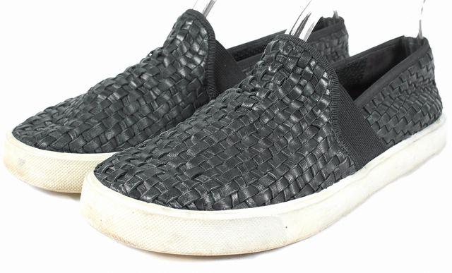 VINCE Black Braided Leather Preston Slip-On Sneakers