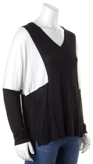 VINCE Black White Colorblock V-Neck Long Sleeve Relaxed Fit Knit Jersey Top