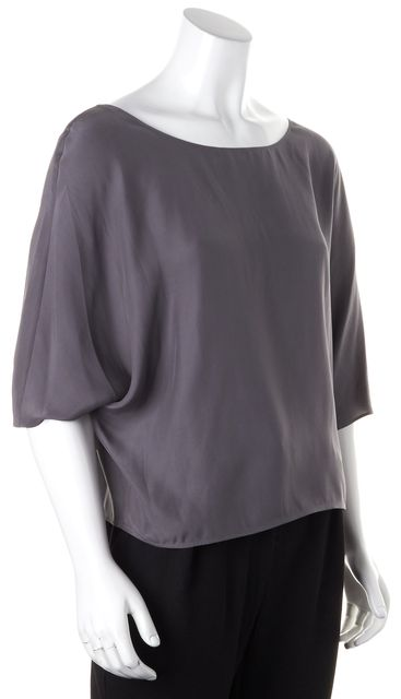 VINCE Gray Silk Batwing Sleeves Oversized Blouse Top