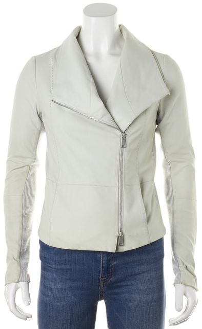 VINCE Light Gray Leather Ribbed Cashwool Knit Trim Moto Jacket