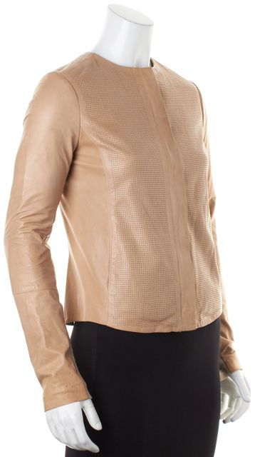 VINCE Beige Perforated Leather Ribbed Knit Sleeve Trim Zip-Up Jacket