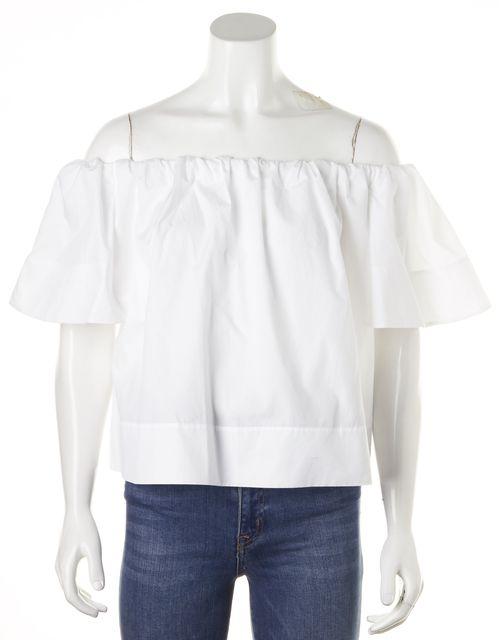 VINCE Off White Cotton Off-Shoulder Blouse Top