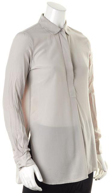 VINCE Gray Silk Long Sleeve Button Down Tunic Blouse Top