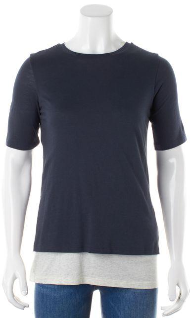 VINCE Slate Blue Ivory Faux Layered Short Sleeve Basic T-Shirt