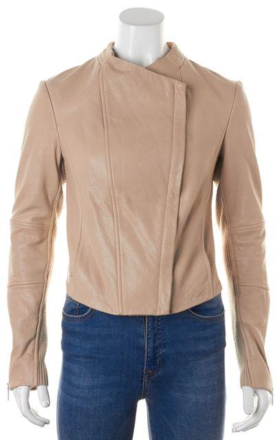 VINCE Beige Brown Textured Lamb Leather Side Zip Up Crop Jacket