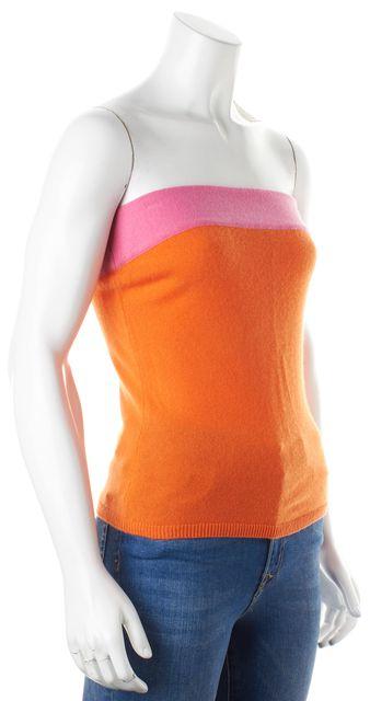 VINCE Orange Pink Colorblock Cashmere Strapless Knit Top Blouse