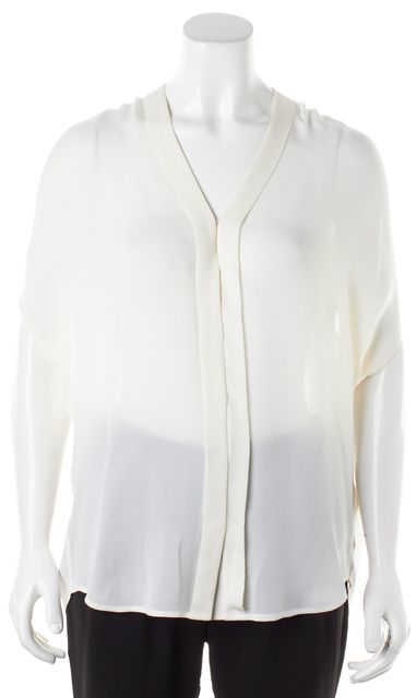 VINCE Ivory Silk Batwing V-Neck Oversized Sheer Blouse