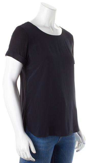 VINCE Black Cuffed Short Sleeve Crewneck Blouse