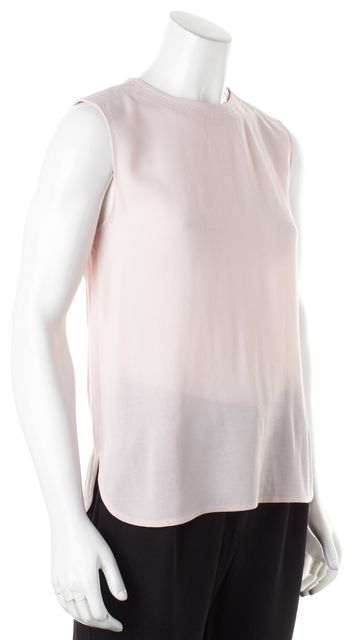 VINCE Bubblegum Pink Zipped Sleeveless Semi Sheer Blouse