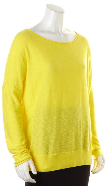 VINCE Yellow Cotton Long Sleeve Wide Crewneck Knit Top