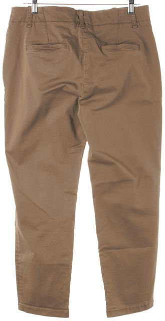VINCE Beige Stretch Cotton Cropped Straight Leg Chino Pants