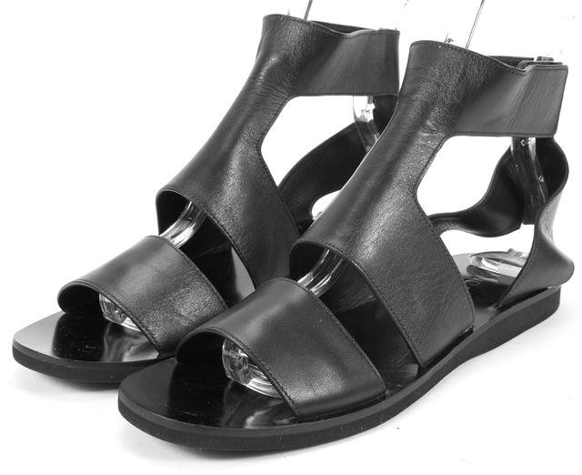 VINCE Black Leather Flat Gladiator Sandals