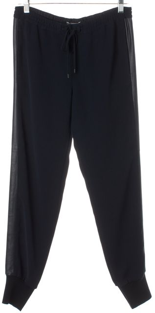 VINCE Navy Blue Leather Trim Drawstring Casual Pants