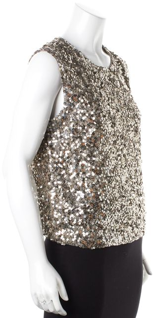 VINCE Silver Sequin Embellished Sleeveless Blouse Top